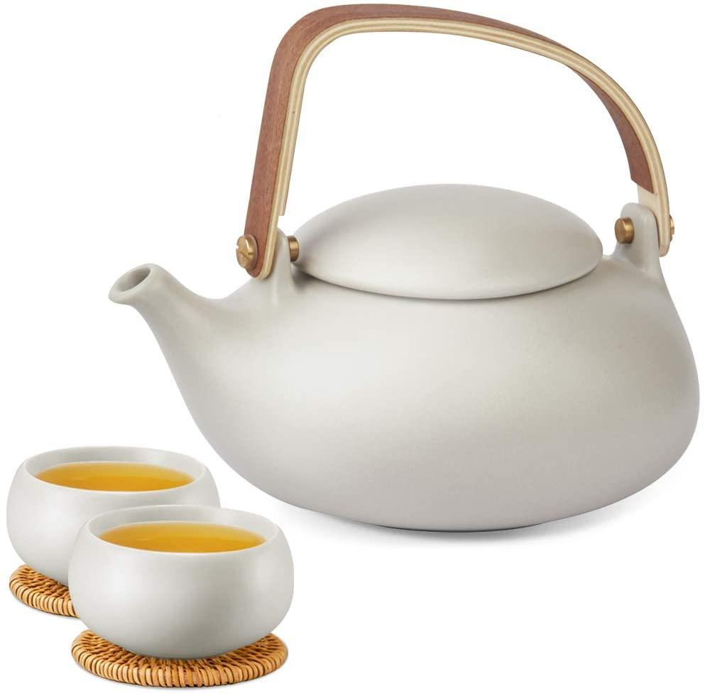 ZENS Ceramic Teapot Set, Matte Grey Japanese Tea Set with Infuser for Loose Tea, 27 Ounce Modern Porcelain Tea Pot with 2 Teacups & Rattan Coasters for Women Gift