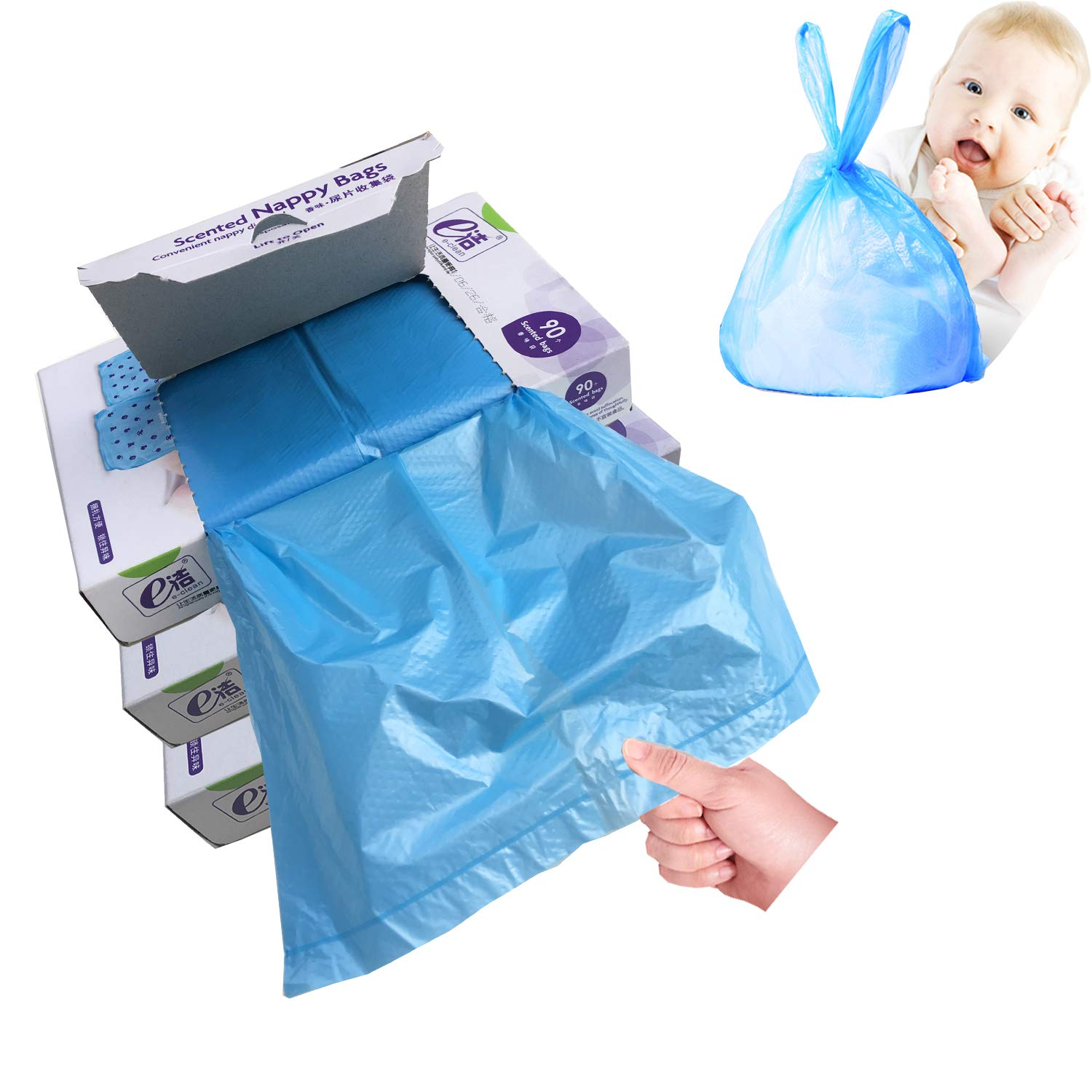 Diaper Disposal Plastic Bags for Baby,On The Go,Fresh Light Baby Powder Scented, Easy Tie Handles, Portable Diaper Pail Refill Bags,Disposable Diaper Sacks Or Poop Pet Waste Bags, 270 Bags, Blue