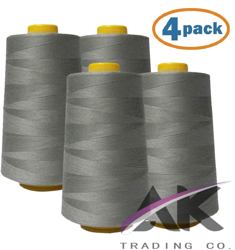 AK Trading 4-Pack Light Gray All Purpose Sewing Thread Cones (6000 Yards Each) of High Tensile Polyester Thread Spools for Sewing, Quilting, Serger Machines, Overlock, Merrow & Hand Embroidery