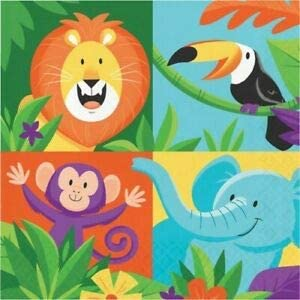 Jungle Safari Lunch Napkins 1st 16 Pack Birthday Party Decorations