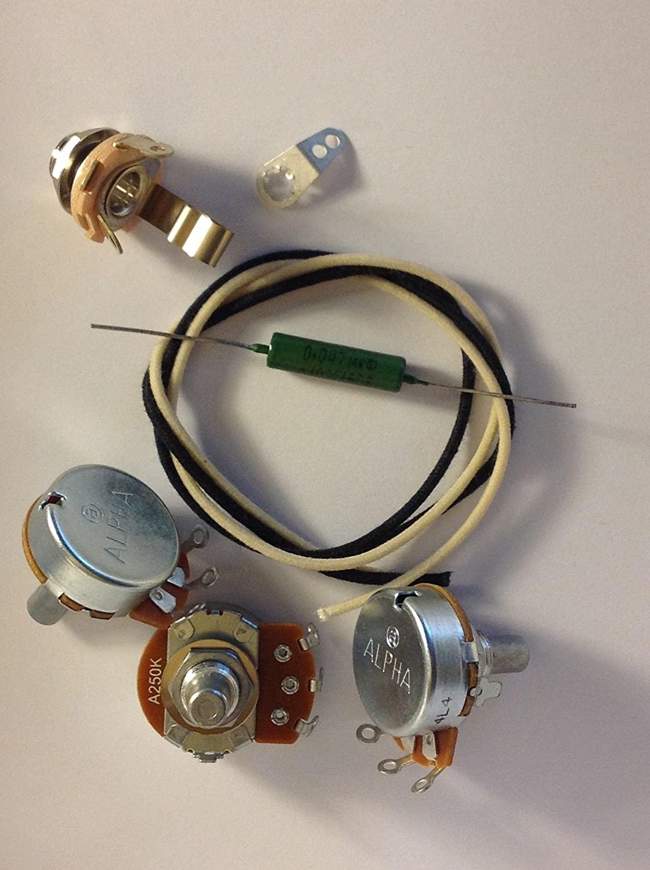 Basic Wiring Harness Kit For Jazz Bass US Spec Pots .047uf Soviet Paper In Oil Cap