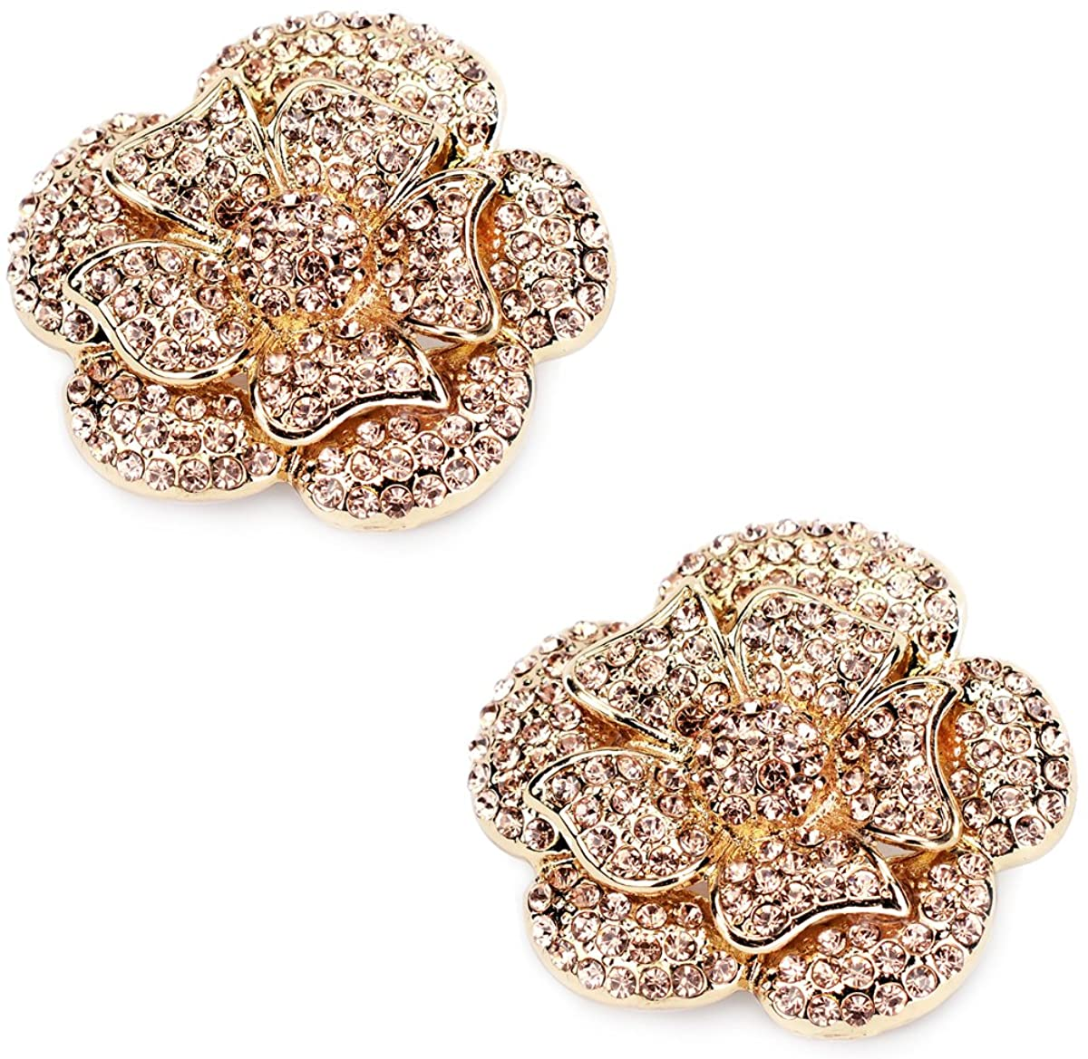 ElegantPark Fashion Shoe Clips for Pumps Pearl Rhinestone Flower Crystal Party Wedding Shoe Accessories Clips