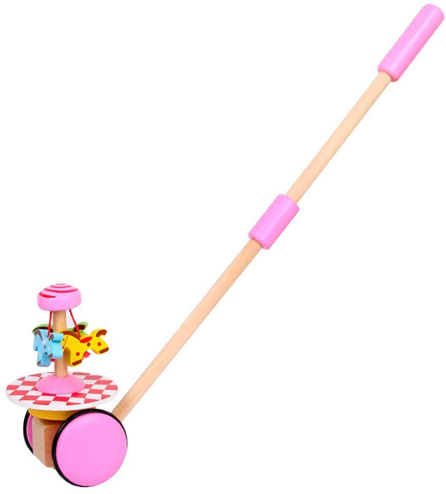 Baby Walking Toy,Wooden Push-n-Pull Activity Walking Toy Classic Early Learning Wooden Balance Walking Play Toy for Toddlers and Babies Girl or Boy, Indoor & Outdoor Activity for Kids (Pink)