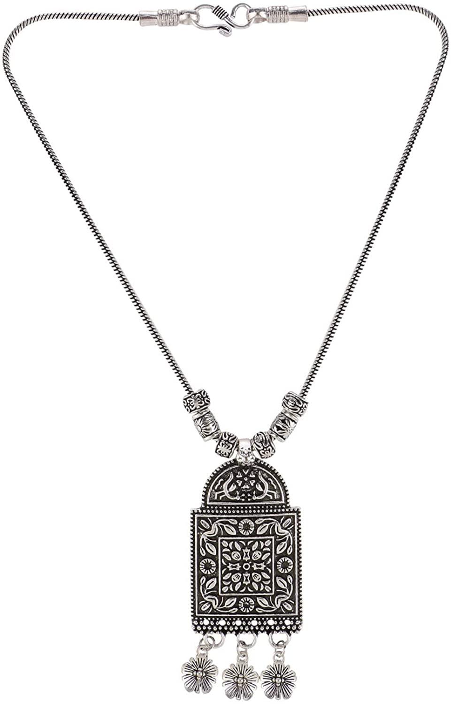 Efulgenz Boho Vintage Antique Ethnic Gypsy Tribal Indian Oxidized Silver Statement Pendant Necklace Jewelry