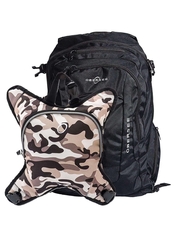 Bern Diaper Backpack, Shoulder Baby Bag, With Food Cooler, Clip to Stroller (Black/Camo)