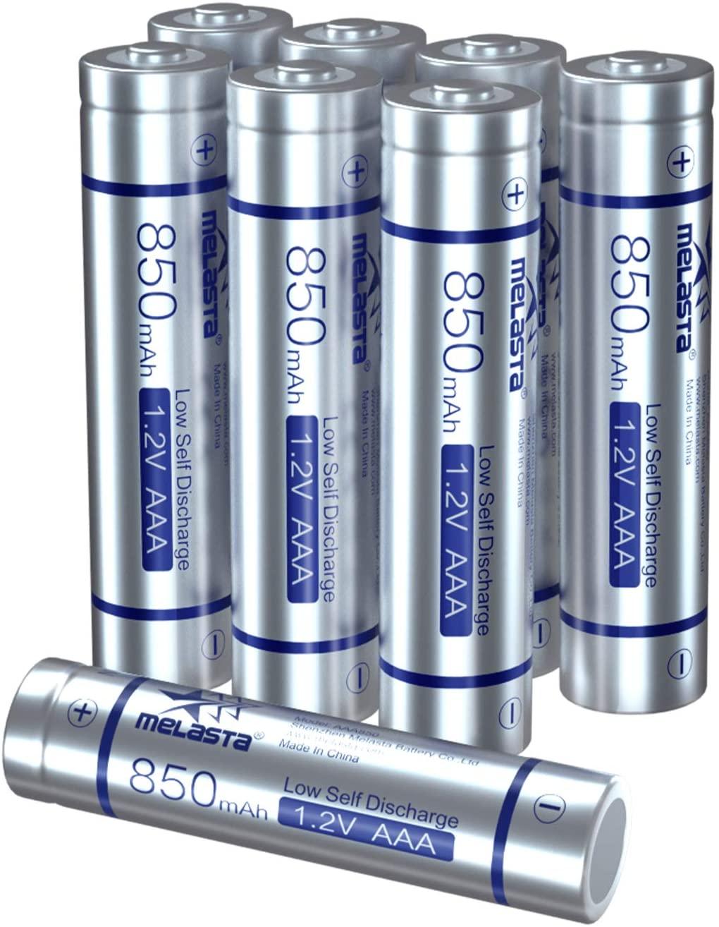 MELASTA AAA Rechargeable Batteries, 850mAh 8-Pack 1.2V NiMH 1200 Cycle