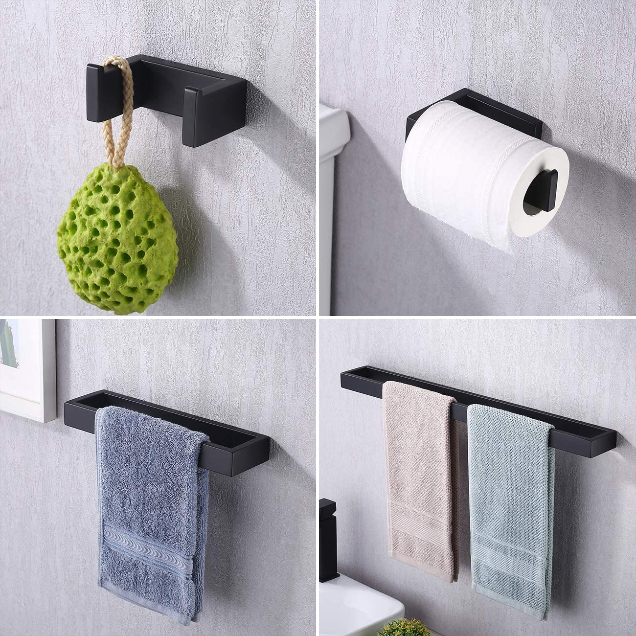 KES Bathroom Hardware Set 4 Piece Towel Bar Toilet Paper Holder Hook Wall Mounted No Drill Rustproof Matte Black Finish, LA230BKDG-42