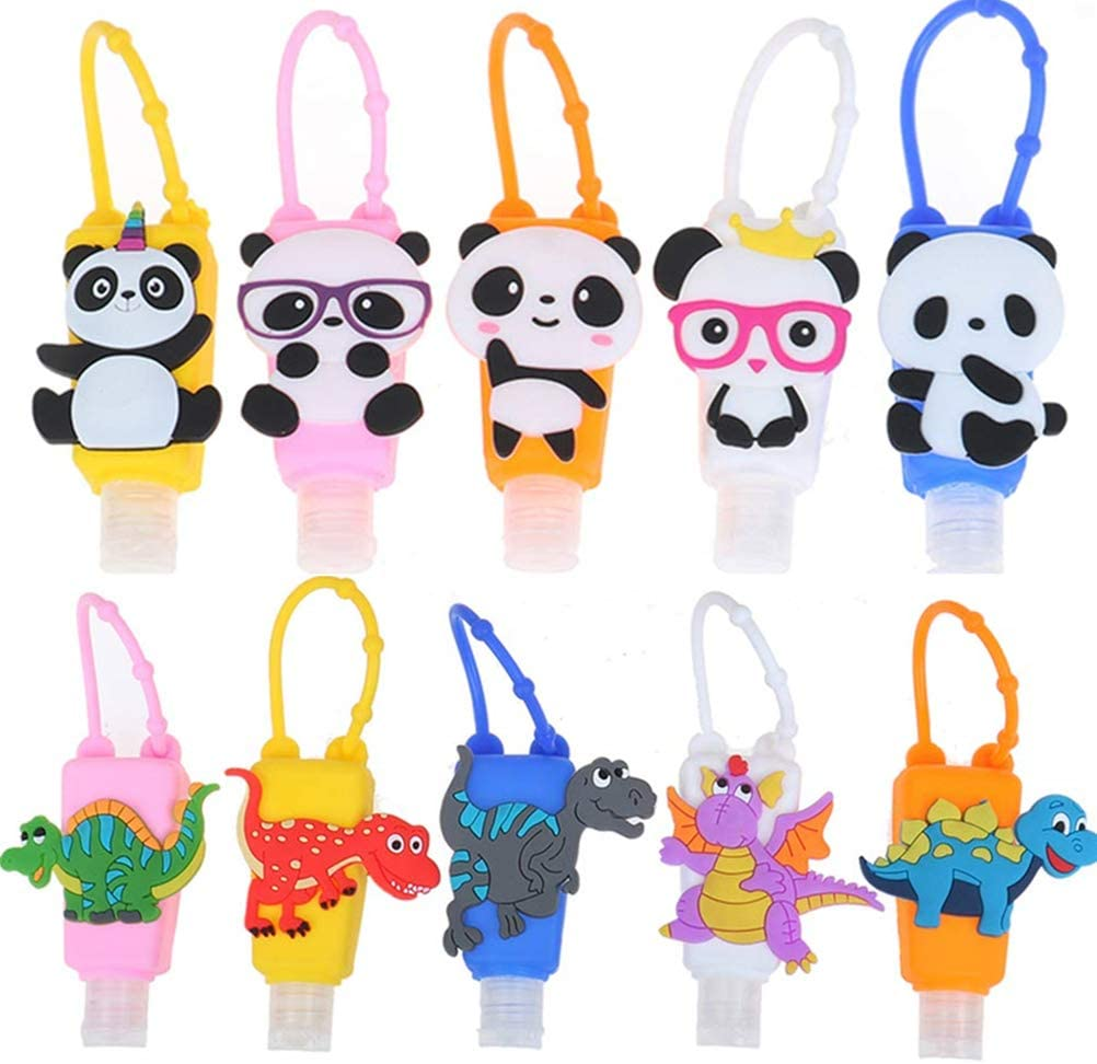SUSHAFEN 10Pcs Hand Sanitizer Bottle Holder with Dinosaur Panda Silicone Protective Case Mini 30ml Detachable Kids Travel Portable Plastic Leak Proof Bottles Keychain Carriers-Random Patterns