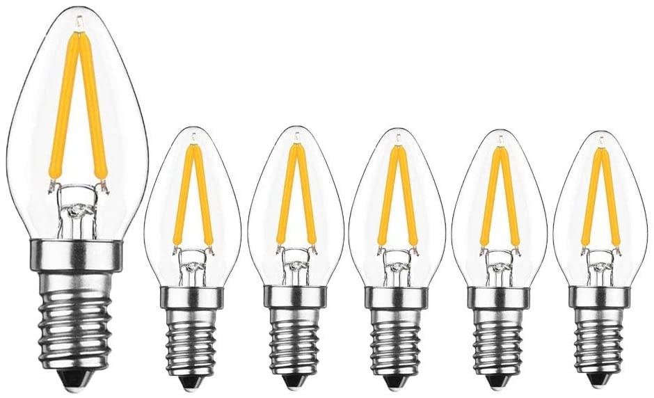 KIMROO 2W E12 C7 Candelabra LED Bulbs(6 Pack) 15W Enquivalent E12 Base LED Filament 2W Bulb 120V Dimmable 2700K Warm White Clear Glass C7 Mini Candle Torpedo Shape for Night Light (Warm White)