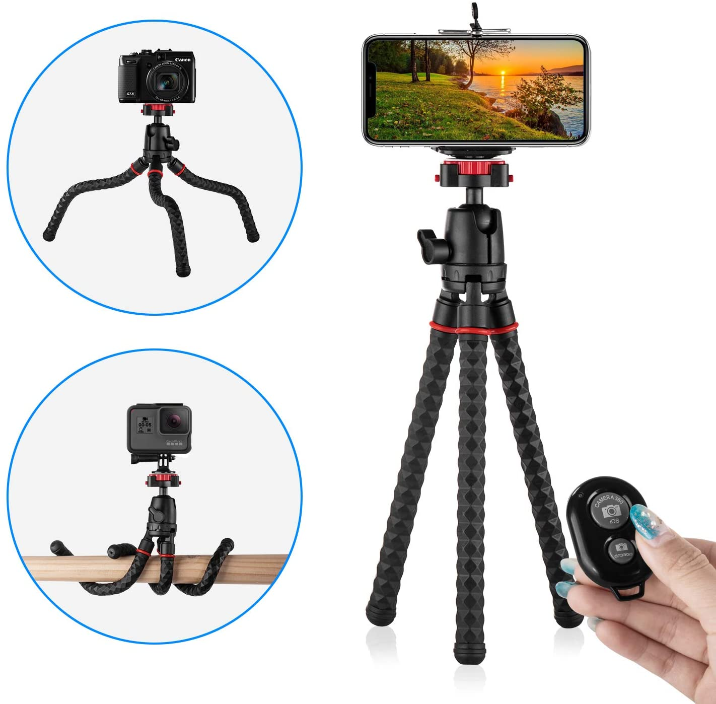 Phone Tripod with Wireless Remote Eco Moda 360 Degree Rotation Flexible Portable Octopus Travel Small Tripod for iPhone Android Phone Camera Samsung Smartphone Sports Action Camera