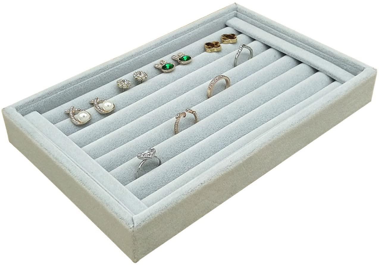Velvet Ring Earrings Display Box, Cufflinks Trays Showcase Display Ring Insert Case Holder Organizer Great for Gifts,Grey