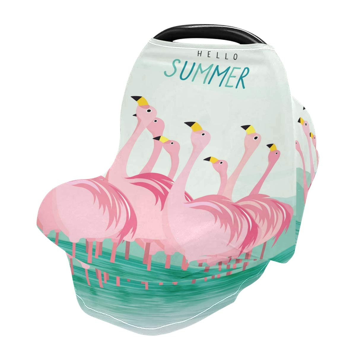 Nursing Cover Pink Flamingos Breastfeeding Soft Carseat Canopy Multi Use for Baby Car Seat Covers Canopy Shopping Cart Cover Scarf Light Blanket Stroller Cover