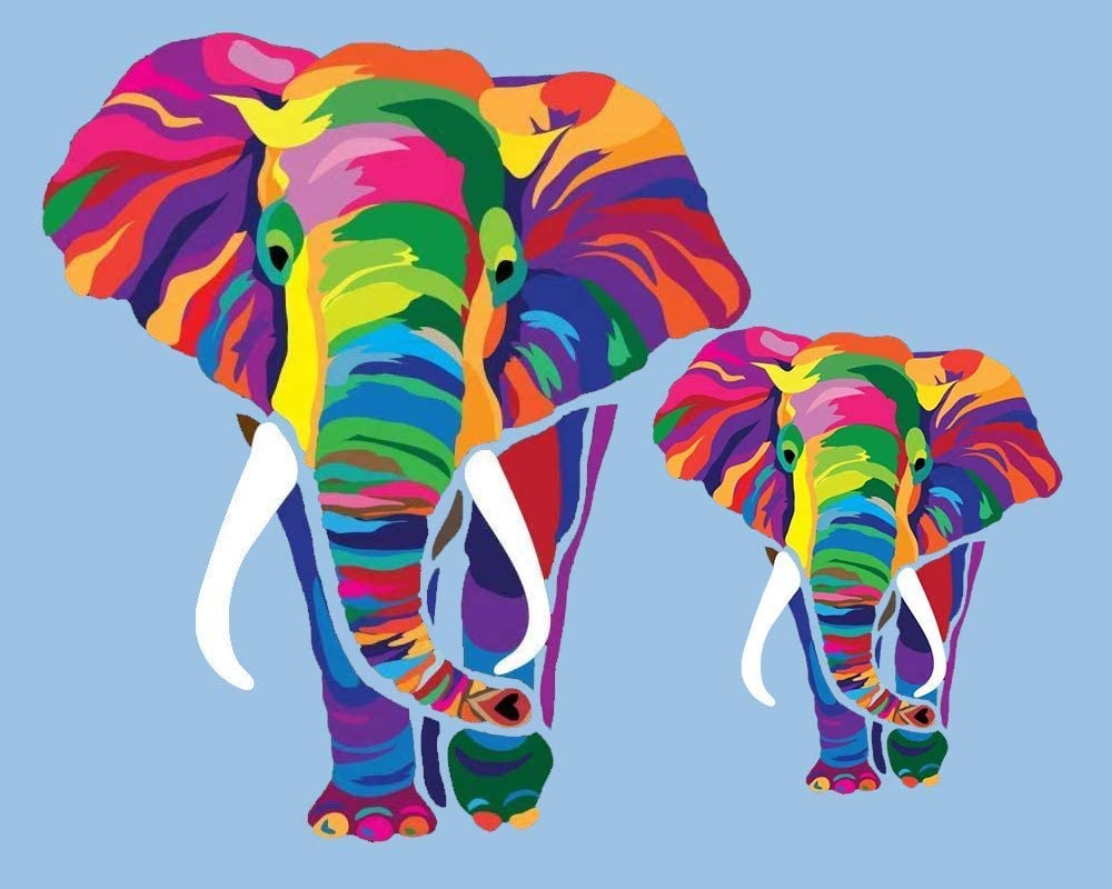 Elftoyer Paint by Numbers for Kids & Adults & Beginner , DIY Canvas Painting Gift Kits for Home Decoration - Colorful Elephants 16 x 20 inch (Without Framed)