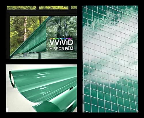VViViD One-Way Green Mirror Finish Vinyl Window Wrap Film Self-Adhesive DIY Small Roll (1.49ft x 5ft)