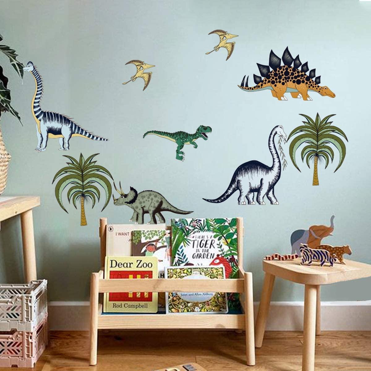 decalmile Dinosaur Wall Decals Jungle Animals Palm Tree Wall Stickers Baby Nursery Boys Bedroom Playroom Wall Decor