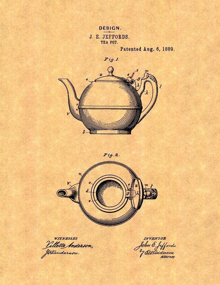 Tea Pot Patent Print (8.5 x 11) M12129