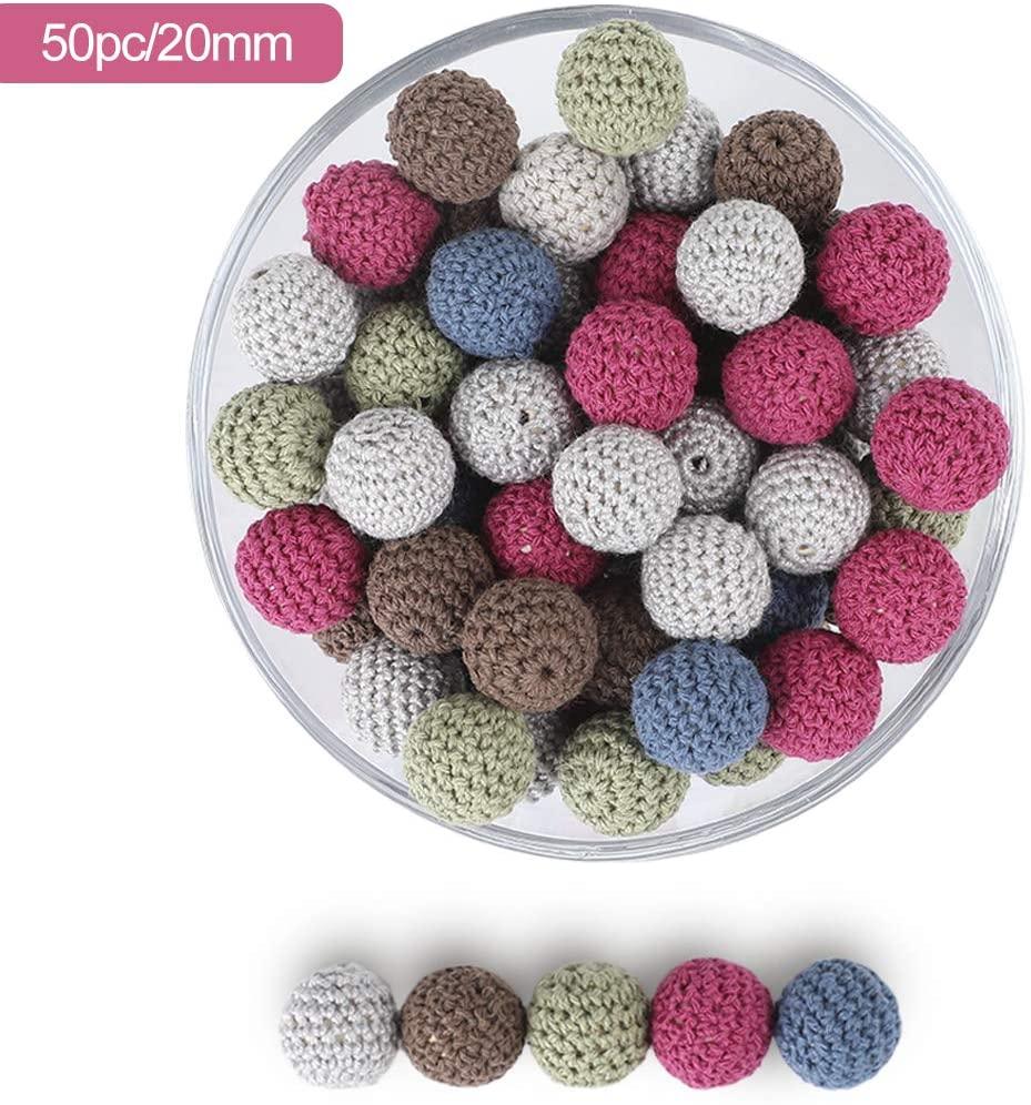 Circular Crochet Wooden Beads 20mm 50pc Knitted Bead Hook Flower Ball Teeth Care Baby Teething DIY Beads for Nursing Handcrafts