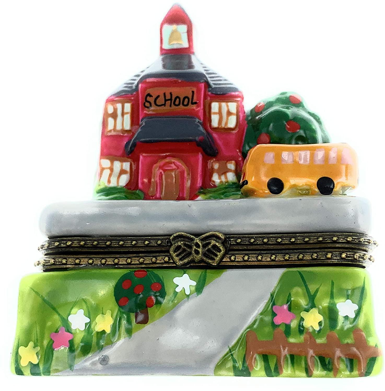 Art Gifts Little Red School House Teacher Bus Hinged Trinket Box