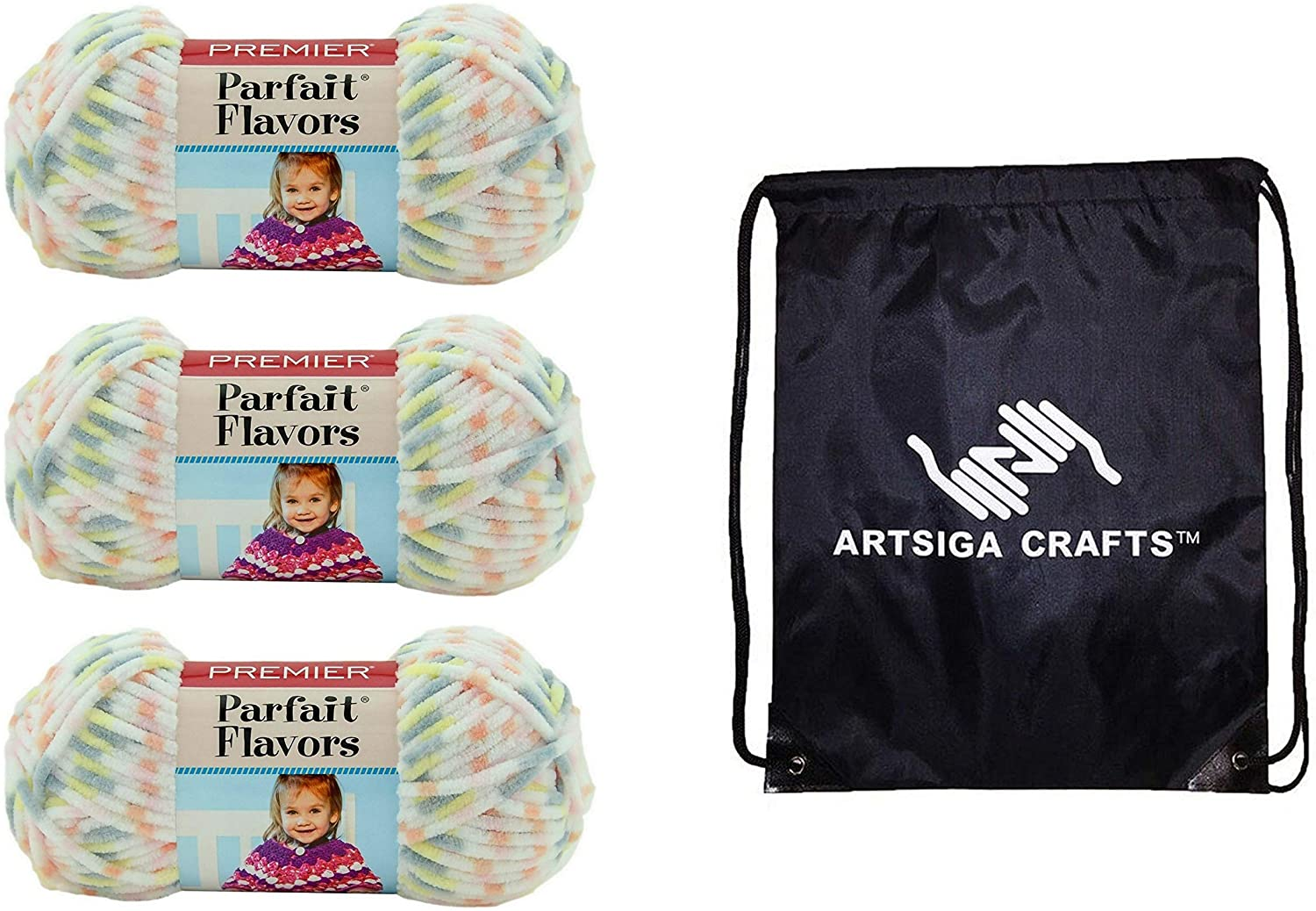 Premier Knitting Yarn Parfait Flavors Ambrosia 3-Skein Factory Pack (Same Dye Lot) 31-21 Bundle with 1 Artsiga Crafts Project Bag