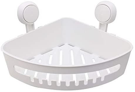 Plastic Corner Shower Caddy Suction Cup Shower Basket Organizer Shelf, No Drilling, Strong Suction Power Bathroom Caddies with Hooks, Kitchen Rack, Waterproof, Reusable, for Shampoo, Gel, Sanitizer