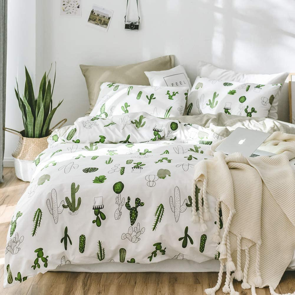 BlueBlue Cactus Kids Duvet Cover Set Queen, 100% Cotton Bedding for Boys Girls Teens, Cartoon Green Cactus Plant Potted Pattern Print on White, 1 Full Soft Comforter Cover 2 Pillow Shams (Queen)