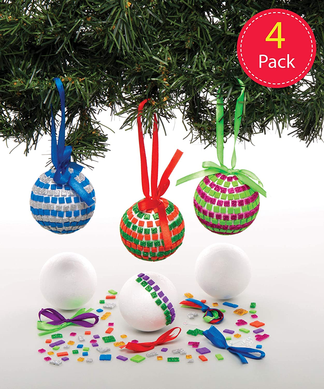 Baker Ross Mosaic Ornament Kits, Christmas Arts and Crafts (Pack of 4)