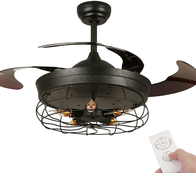 Vintage Ceiling Fan with Light,42 Inch Retractable Ceiling Fan Light with Remote Control, Industrial Chandelier Fan with 5 Edison Bulbs, Not Included (black)