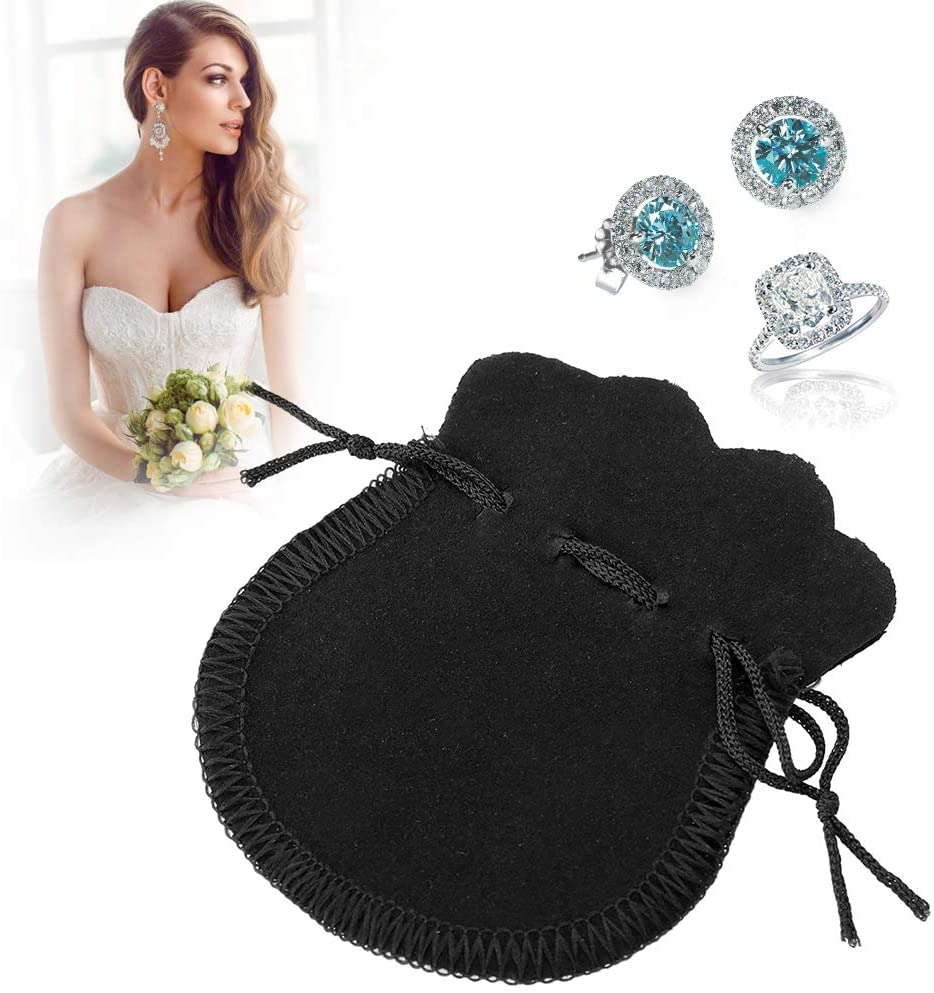 TMISHION 50pcs Drawstring Pouch Small Wedding Bag for Jewelry Ring Necklace Earrings Watch(79cm-Black (79CM))