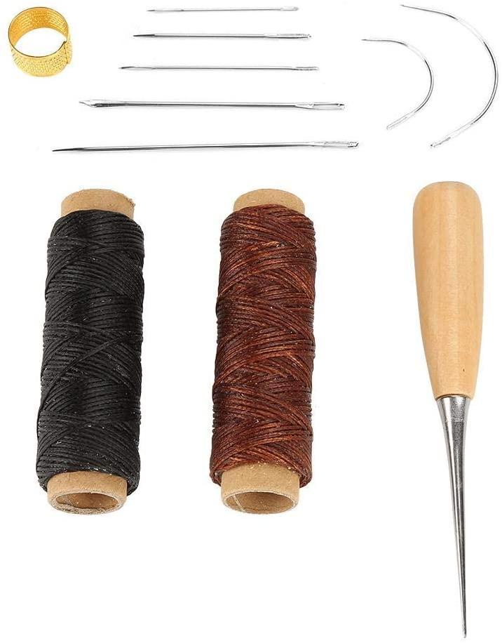 11 Pcs Set Upholstery Repair Kit Sewing Kit Waxed Cord Thread Hand Needle with Awl Thimble Ring for DIY Shoe Bag Repair