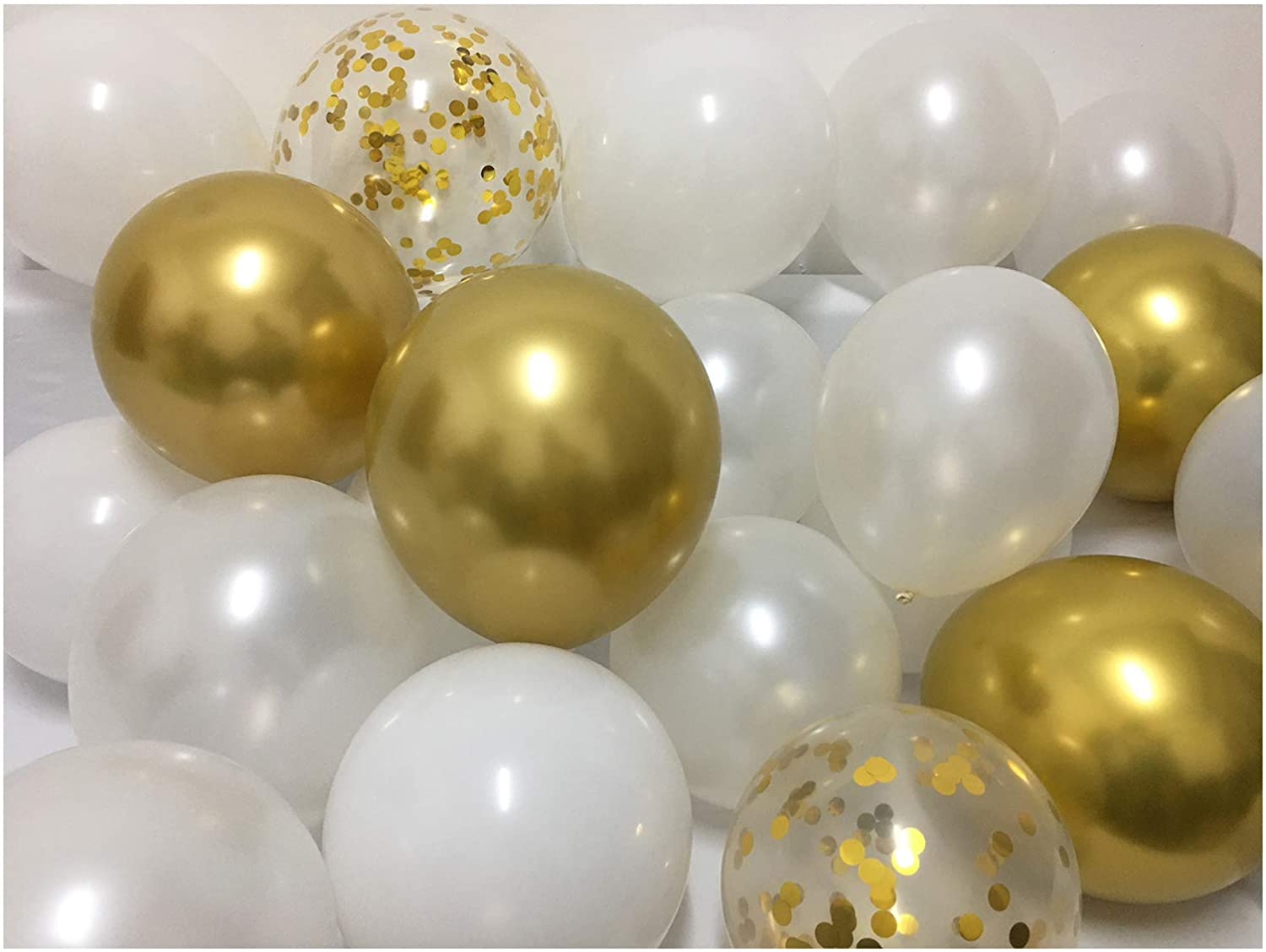 Latex Balloons White and Gold –12inch Matte Pearlized White Metallic Chrome Gold Confetti Party Ballons for Birthday Bridal Baby Shower Wedding Graduation Decorations 60packs (White + Gold)