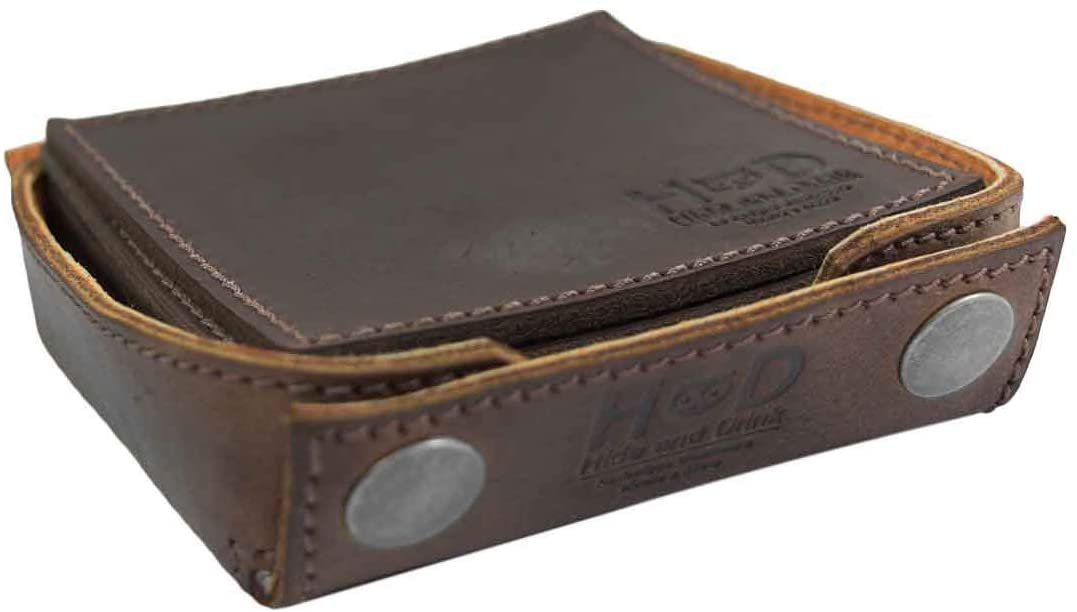 Hide & Drink, Durable Thick Leather Square Box Set Coasters w/Stitching (6-Pack) Handmade :: Bourbon Brown
