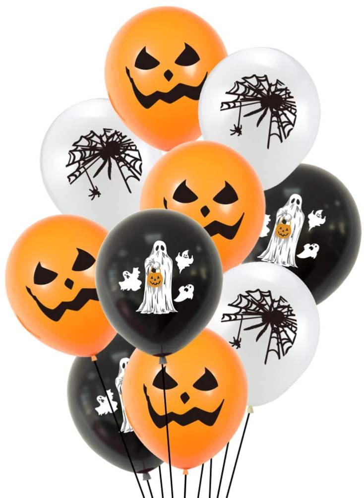 NUOBESTY 20pcs 12 Inch Halloween Latex Balloon Scary Pumpkin Spider Ghost Balloon Scary Mylar Balloons Pet Kid Toy for Birthday Happy Halloween Party Decor