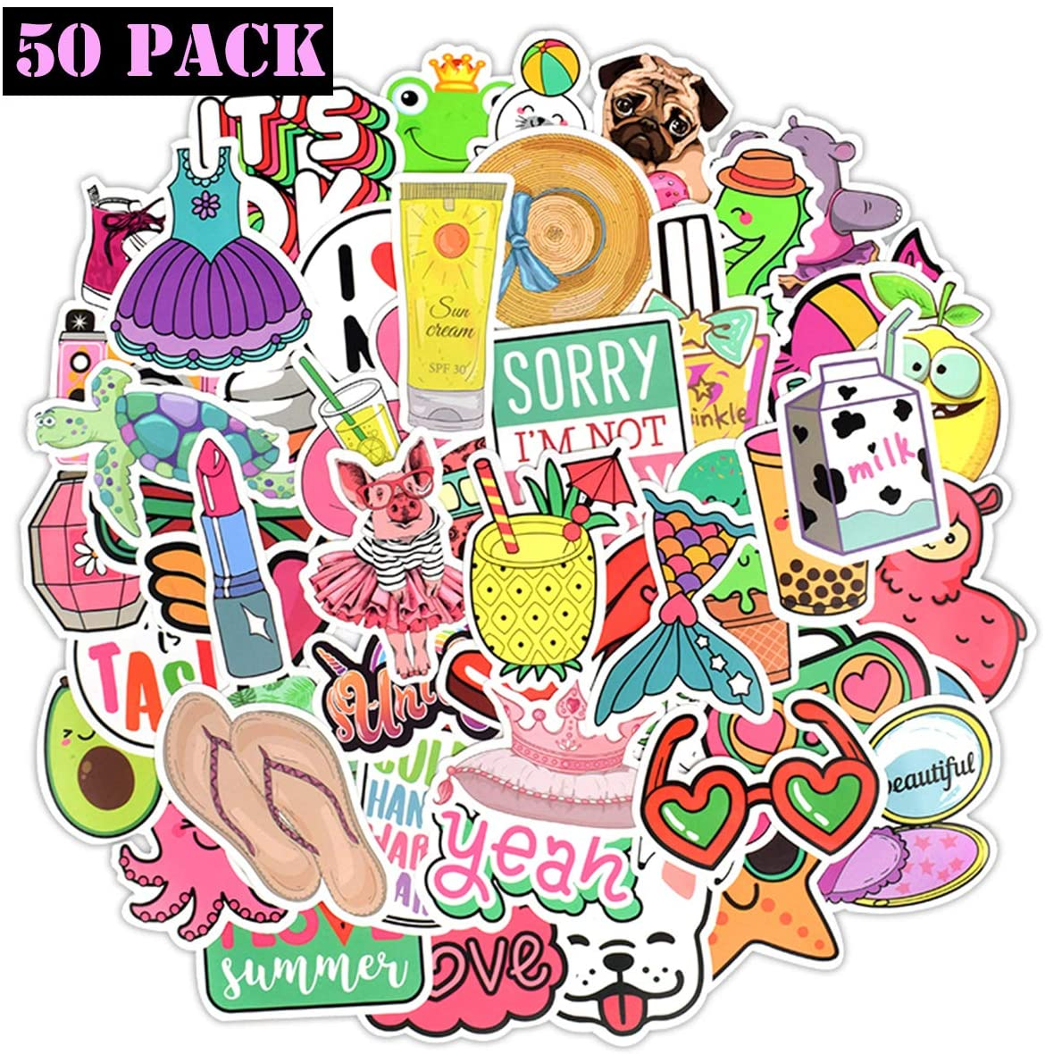 EHOPE Waterproof Cute Vinyl Stickers Pack for Water Bottle Laptop for Teen Girls (50Pcs Beach Style)
