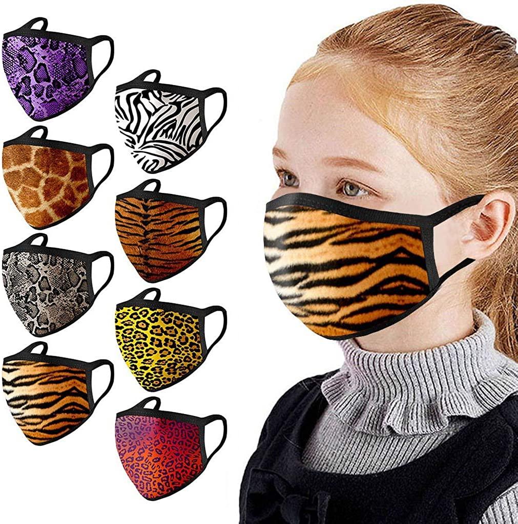 Weginte 10PCS Kids Washable Reusable Face+Bandanas Children Student Breathable School Outdoor Activities Tie-Dyed Chrismas