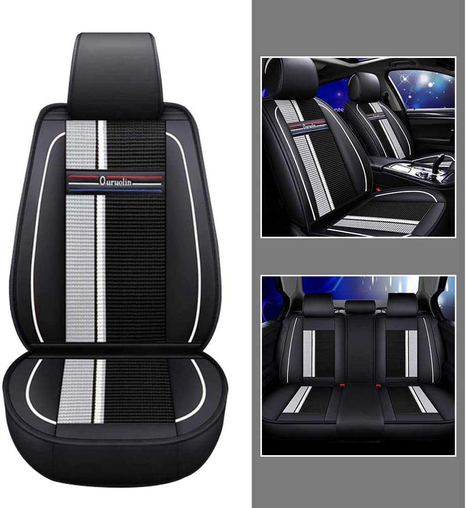 For Driver/Co-pilot/Rear 3seat Car Seat Covers For Infiniti M G EX FX ESQ 5-Seat Leather Cover Full Protection Set Black white