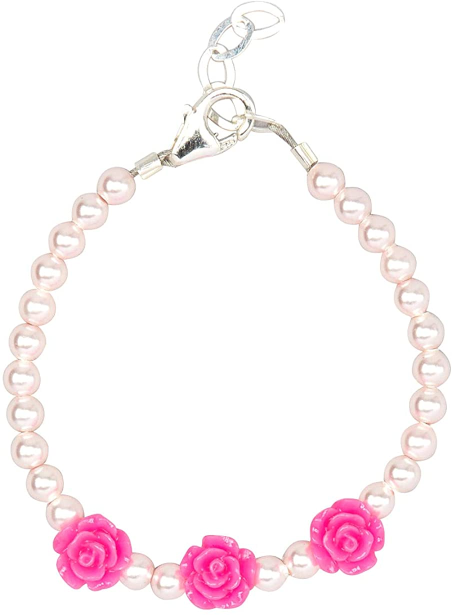 Crystal Dream Hot Pink Flower Girl Bracelet Sterling Silver (B135_HP_XS)