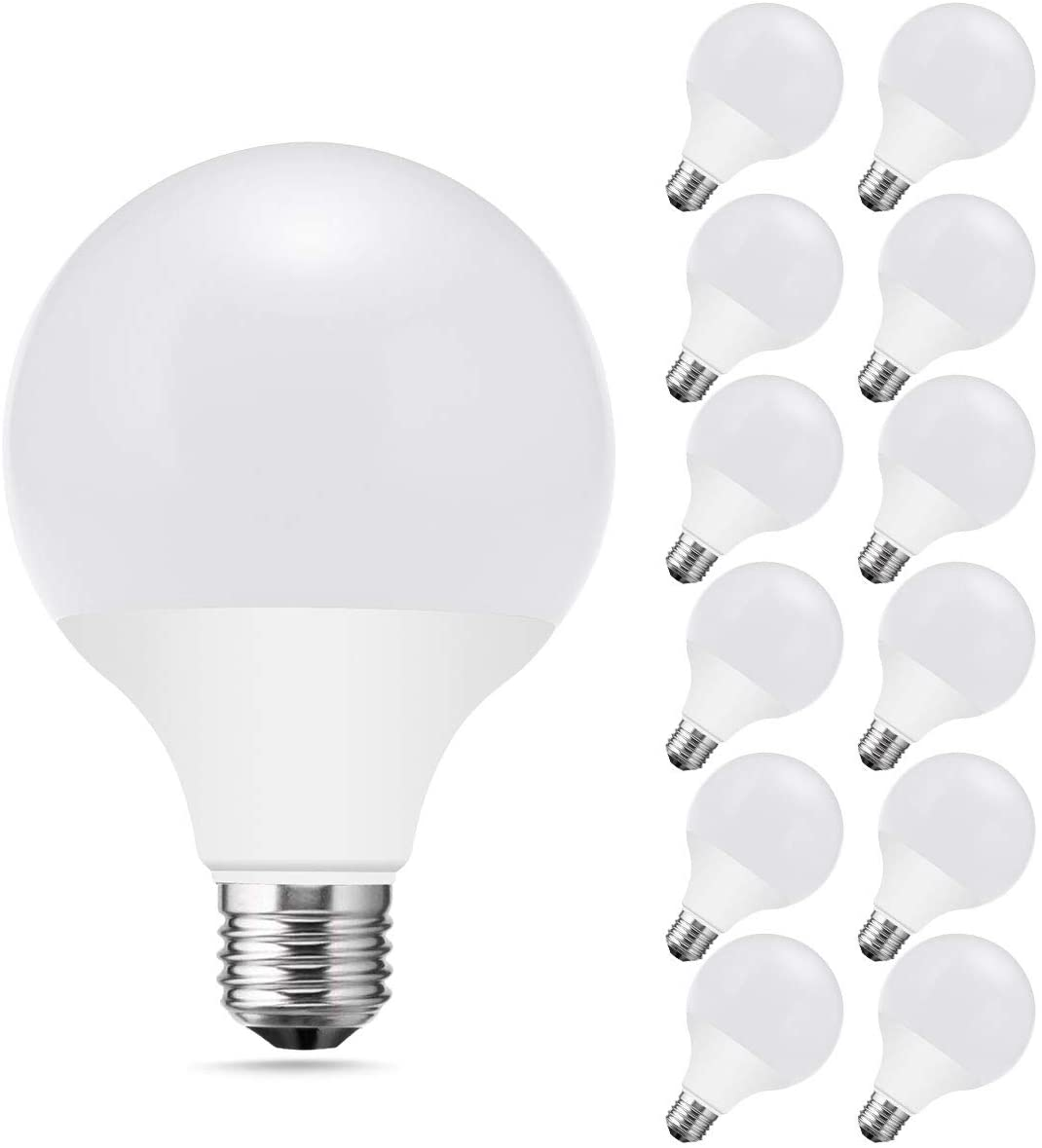JandCase Dimmable G25 LED Bulbs, 9.5W Vanity Mirror Light, 60W Equivalent, 3000K Soft White, 800LM, Low Blue Light, CRI 95, UL Listed, E26 Base, 12 Pack