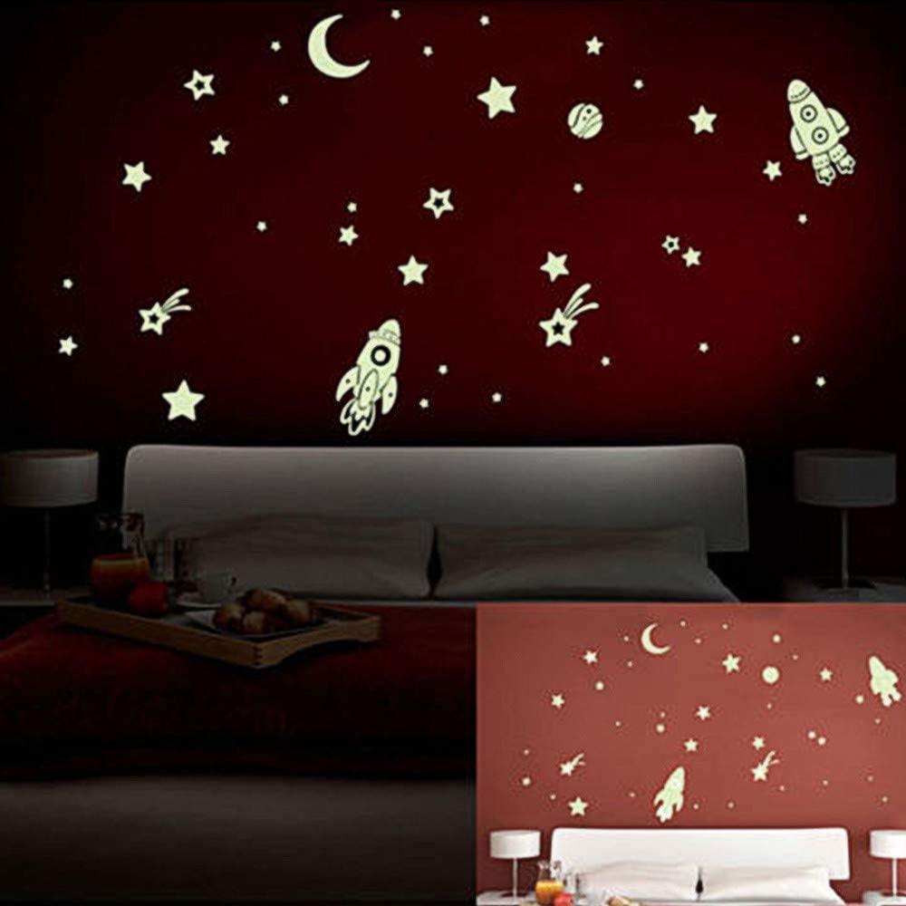 Ywoow Wall Sticker, DIY Luminous PVC Wall Sticker Glow in The Dark Space Stars Planet Rocket Kids,Spaceship Luminous Stickers Fluorescent Stickers.