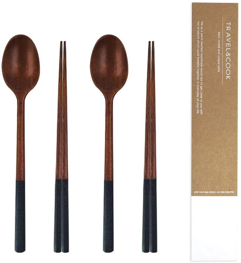 Handmade Wooden Spoon Chop Sticks Cutlery Set, High-Grade Reusable Tableware Combinations Utensil (Two-tone Black 2 Set)