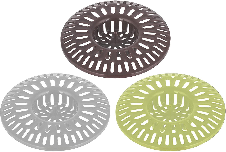 Shower Sink Drain Hair Plastic Basket Strainer for Bathroom - Pack of 3 - Bath Tub Cover Baskets - Bathtub Strainers