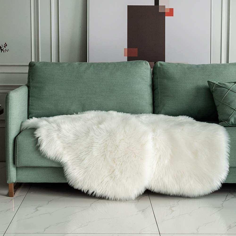 Carvapet 2 Pieces Soft Fluffy Faux Fur Chair Couch Cover Plush Sheepskin Area Rug Area Rug Bedroom Living Room 2 x 3 Feet,White
