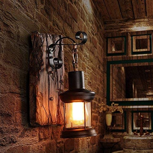 Lovedima Indoor Outdoor 1-Light Wall Sconce Retro Industrial Wood Metal Wall Lantern with Clear Seeded Glass Shade