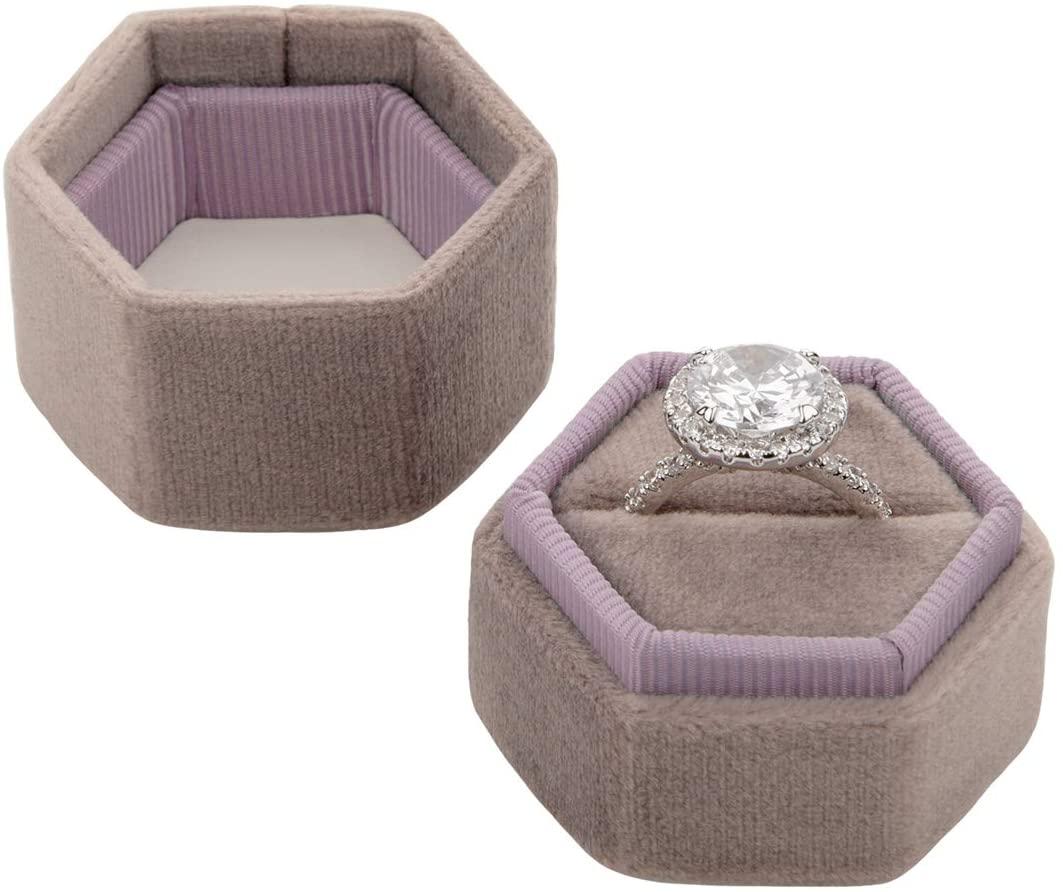 Koyal Wholesale Velvet Ring Box, Hexagon Vintage Wedding Ceremony Ring Box with Detachable Lid, 2 Piece Engagement Ring Box Holder, Modern Proposal Idea (Vintage Mauve)