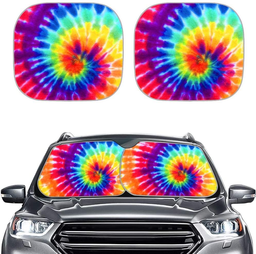 POLERO Swirl Tie Dye Windshield Sunshade, Blocks Heat and Sun, Sun Shield Keeps Your Vehicle Cool, 2 Pieces Automotive Interior Protector Accessories, Colorful