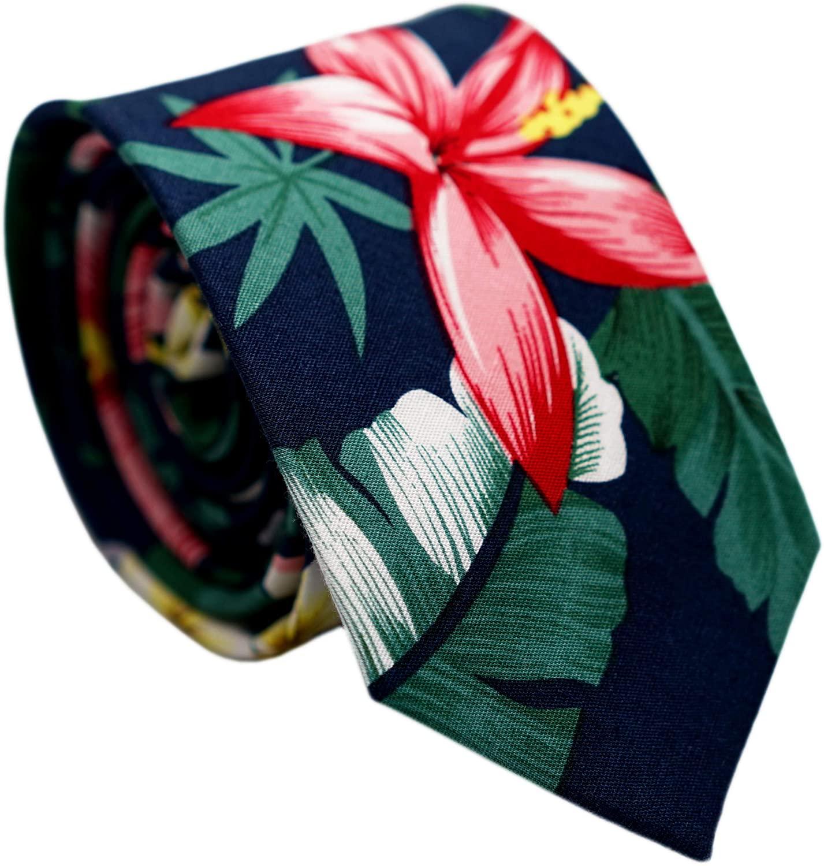 Belluno Men's Cotton Skinny Ties, Print Floral Ties for Weddings, Groom, Groomsmen, Missions, Dances, with Gift Box