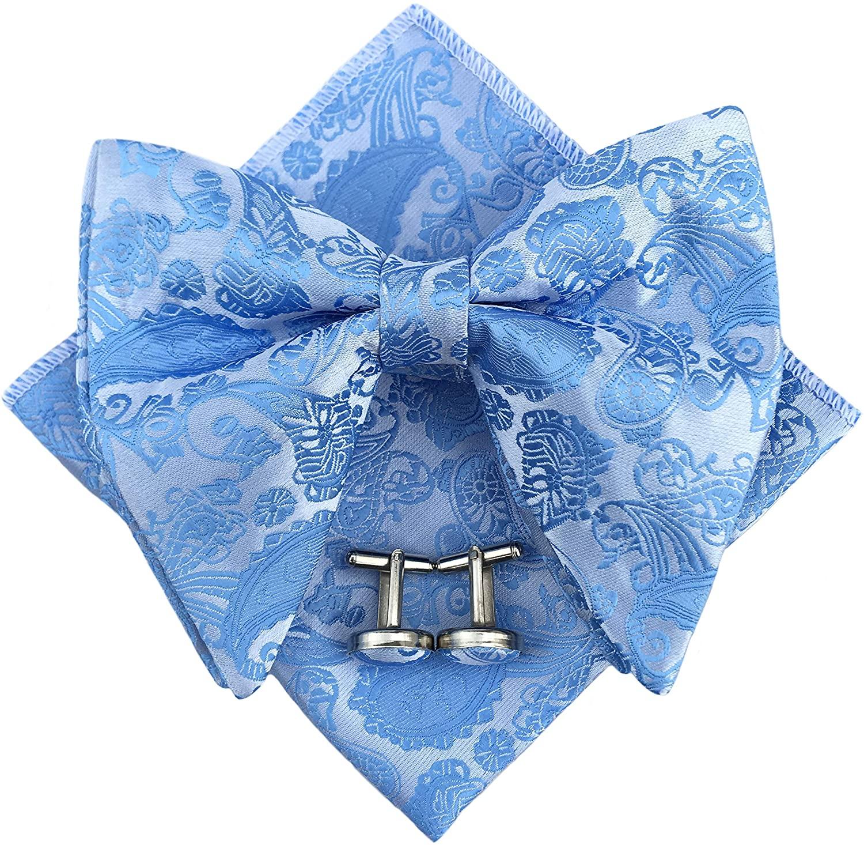 Mens Pre-Tied Paisley Bowtie Oversized Tuxedo Bow Tie Hankie Cufflinks Set