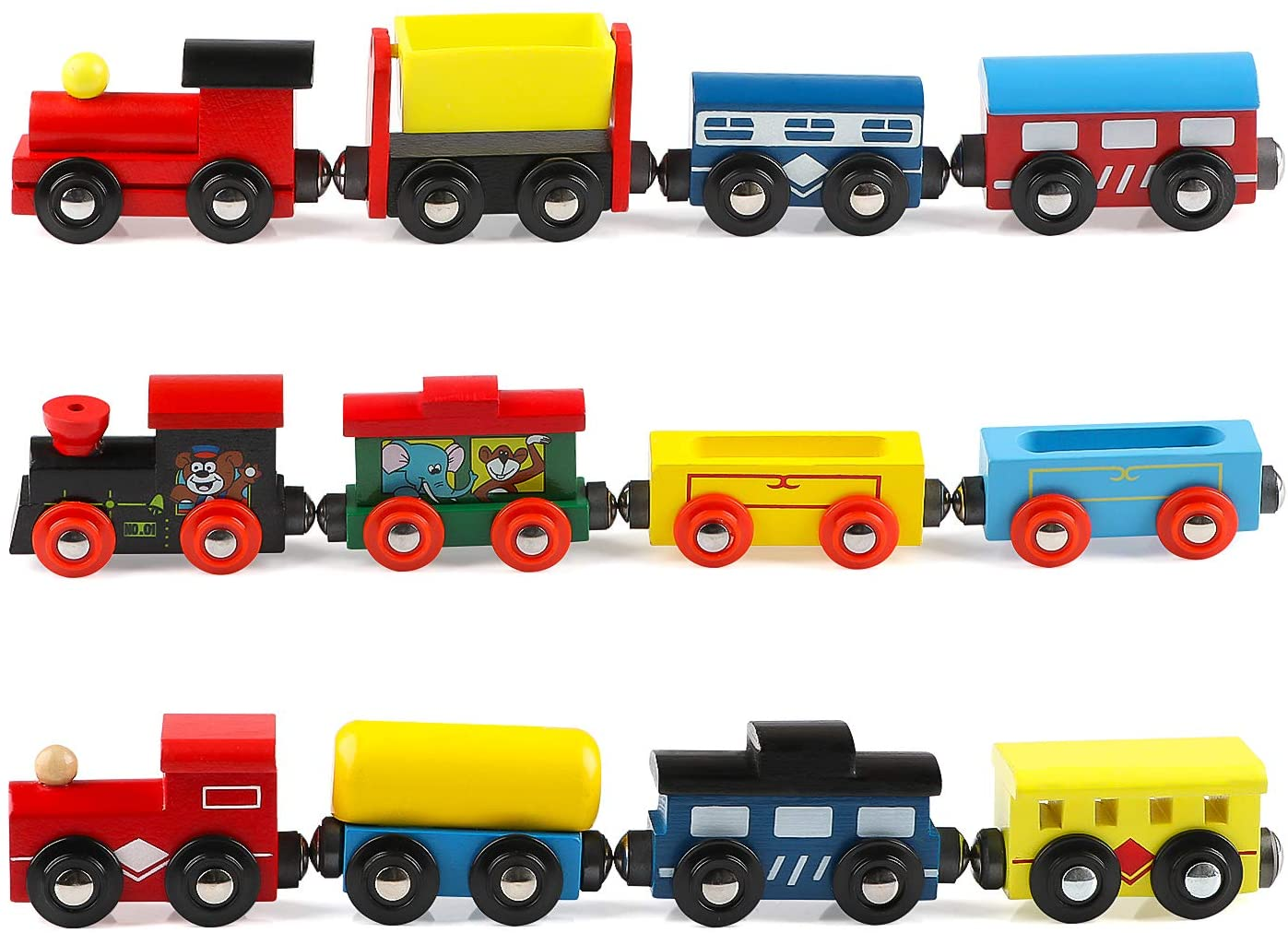 Joqutoys 12 PCS Wooden Train Cars for Toddler, Locomotive Tank Engines and Wagons for Toy Train Tracks, Wooden Train Set Trains Toy Compatible with Thomas Wooden Railway