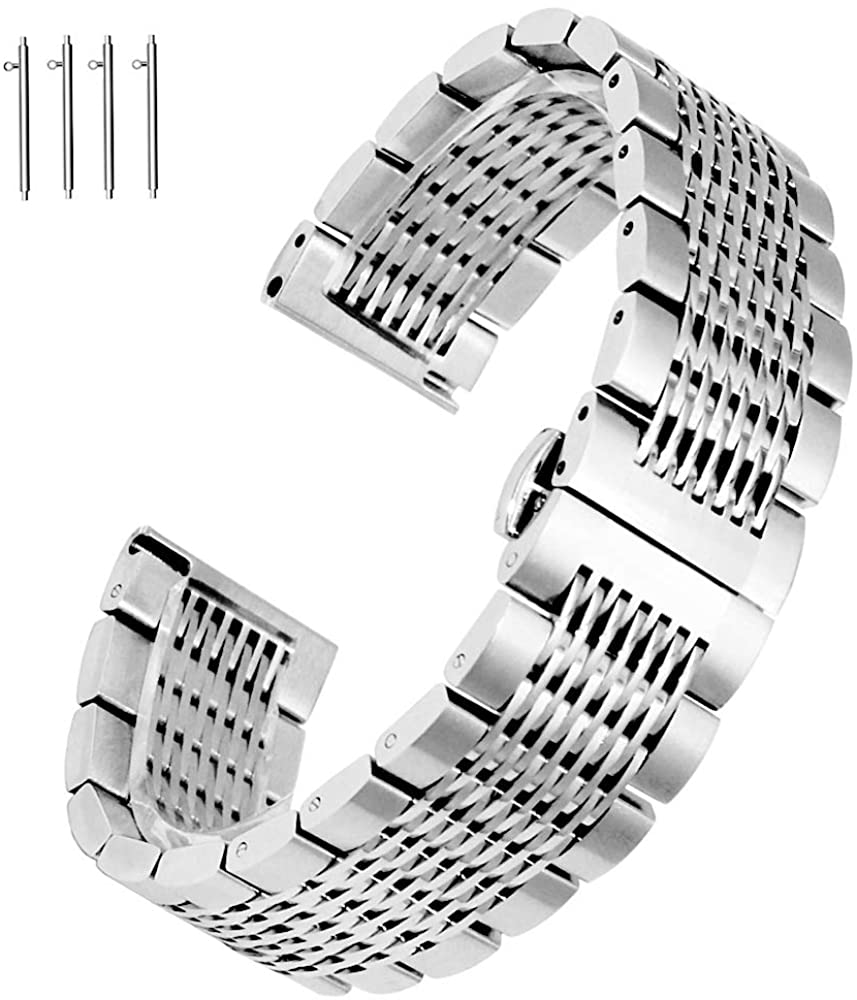 Solid Black Silver Mesh 316L Stainless Steel Watch Band Strap Butterfly Clasp Replacement Bracelet 20mm 22mm