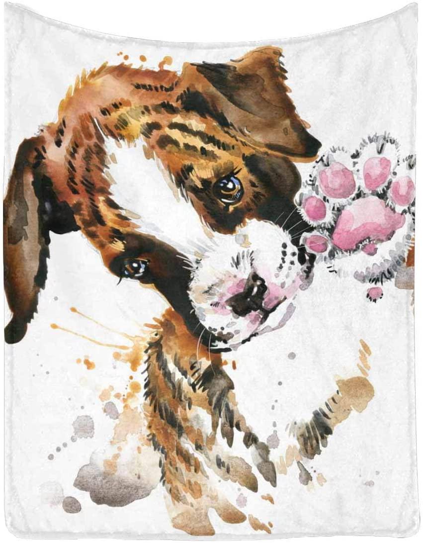 "InterestPrint Cute Baby Dog Portrait Ultra Soft Microfleece Blanket 100% Polyester Blanket 40"" x 50"""