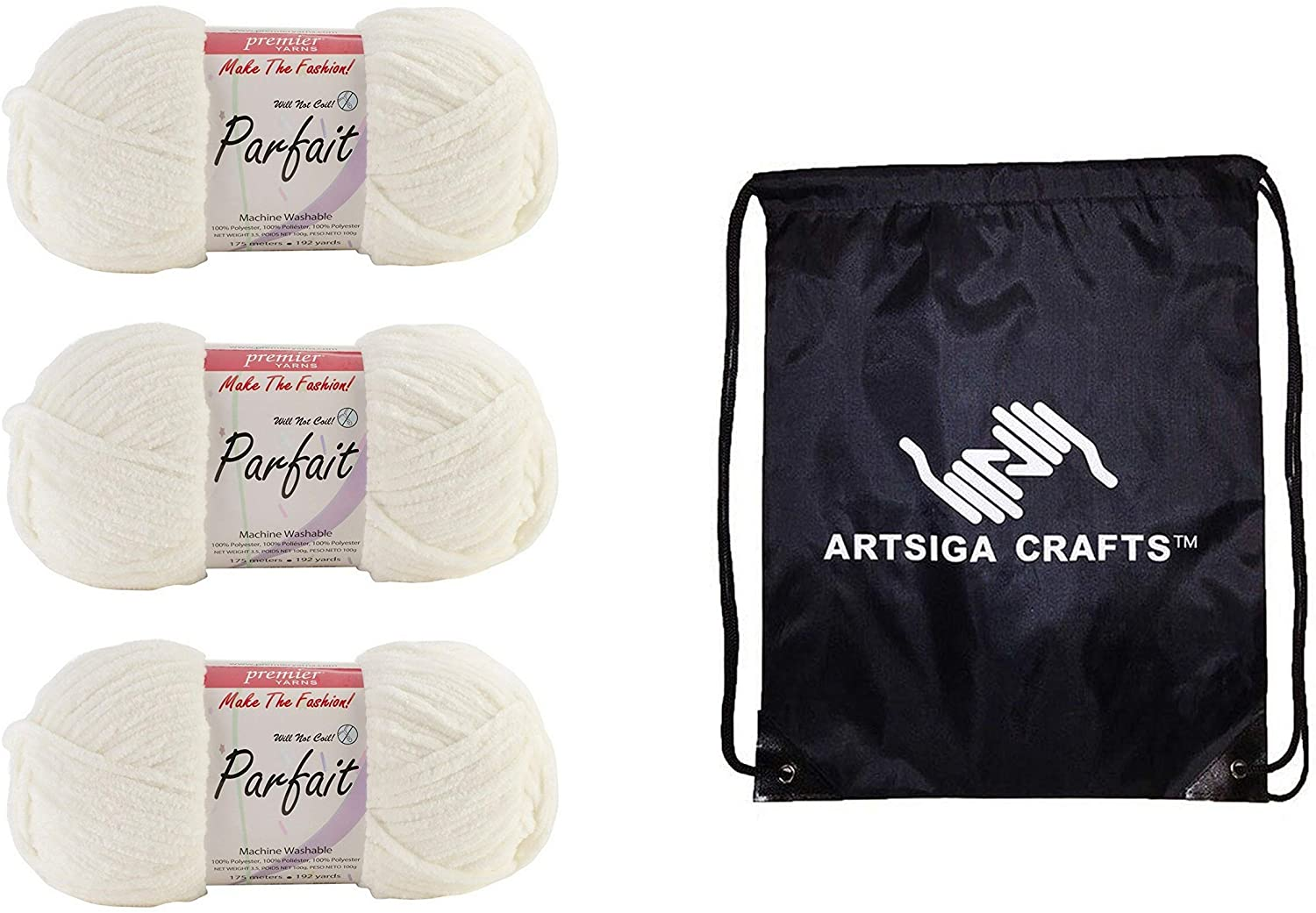 Premier Knitting Yarn Parfait Solid Cream 3-Skein Factory Pack (Same Dye Lot) 30-1 Bundle with 1 Artsiga Crafts Project Bag